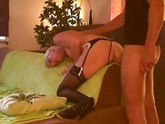Awesome blonde amateur ex-bf fucked in mouth and ass hard