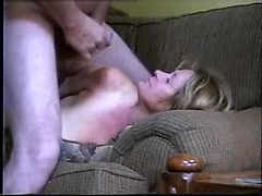 Plump wife filled with a toy and fucked by hubby that gives her a facial